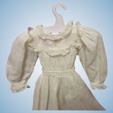 Vintage white dress for small antique doll - very nice