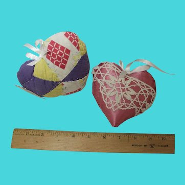 Handmade heart pillows made of vintage fabric and trim - 25 years old