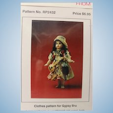 """Gypsy  Bru Clothes Pattern from Bell's-for a 20"""" doll"""