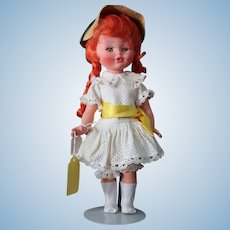 Furga doll, all original, red pigtails/straw hat/white dress. ON SALE!  Approximately 14.5 inches tall