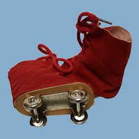 """A pair of vintage"""" Ice Skates - reduced-RED fabric-for a  doll--about 3 inches in length- perfect condition!"""