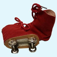 "A pair of vintage"" Ice Skates - reduced-RED fabric-for a  doll--about 3 inches in length- perfect condition!"