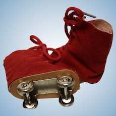 Ice Skates - reduced-RED fabric-for a  doll under 3 inches in size- perfect condition!