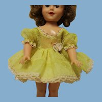 """Shirley Temple size Yellow dress, white """"polka"""" dots, fits 12 inch doll-Great Condition"""