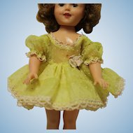 "Shirley Temple size Yellow dress, white ""polka"" dots, fits 12 inch doll-Great Condition"