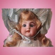 "Antique Simon Halbig; 1079 -  9.5"" DOLL WITH AU NAIN BLEU garment/in original costume and box"