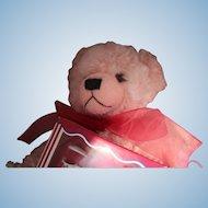 "Hermann Bear, ""English Rose With Tea Set"".  Large Pink Mohair Bear in Original Box with German made Rohler Tea set"
