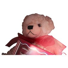 "Hermann Bear, mint in original box, ""English Rose With Tea Set"".  Large Pink Mohair Bear in Original Box/German made Rohler Tea set"