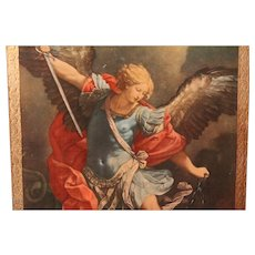 Religious Italian Arcangel print on wood backing - original painting 1635 by Guido Reni of Italy