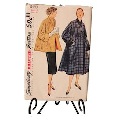 Simplicity Coat Pattern, never been cut, No. 8490 Size 12