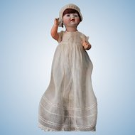 """Hertel, Schwab and Company-11""""  German 152 - baby doll-orig. body paint-mohair wig-with excellent bisque head. Sleep brown glass eyes."""