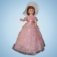 Toni Doll by American Character- Original Pink Gown with white hat, high heels-all original 25 Inches