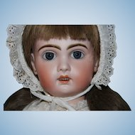 """Jumeau Size '10"""" antique doll, 24 """", with open mouth, original body, excellent bisque"""