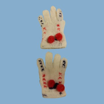 Hand Knit gloves for a small doll, measure about 3 inches in the middle...could be worn, or held as accessory...white with blue and red details