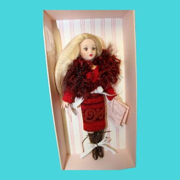 """Coquette doll, 10 inch by Madame Alexander, """"stunning outfit"""" new in box,  in elaborate wool and feather outfit with long blonde hair"""