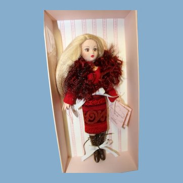 "Coquette doll, 10 inch by Madame Alexander, ""stunning outfit"" new in box,  in elaborate wool and feather outfit with long blonde hair"