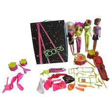 Barbie and The Rockers 1980's Doll grouping Dolls and band instruments and doll case lot