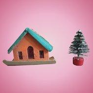 Miniature Putz era feather tree ornament house with brush tree