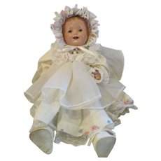 """Effanbee Lovums doll 19"""" composition Pat pending. old baby doll No bonnet or shoes"""