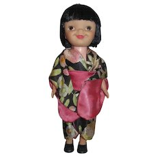 """1965 small 8"""" Disney original SMALL WORLD doll Japan kimono never played with stored in bag"""