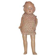 "1930's Metropolitan Composition / cloth  girl doll with hair loop original clothes 16"""