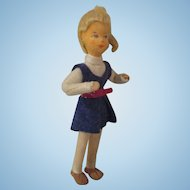 Vintage Erna Meyer Stockinette vintage dollhouse handmade doll Goldilocks teen girl mod belt