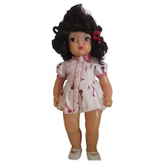 "17"" Vintage Terri Lee doll in tagged bunny dress black hair original"