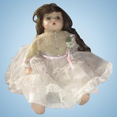 """Composition and CLoth baby doll 1940's brown hair eyes Mother's Day sweetie 22"""""""