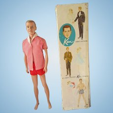 750 1st issue Ken doll Barbie's friend in original outfit flock hair blonde in box 1961