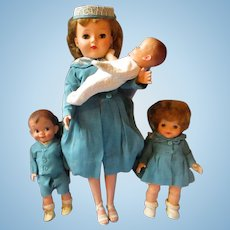 1957 Vintage Effanbee MOST HAPPY FAMILY doll set in original box Champagne, Mickey, Fluffy Baby