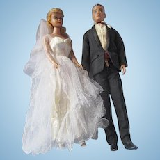 Vintage Barbie and Ken in Wedding Clothing 1962 and 1964 Fashion dress 973 and tux 787