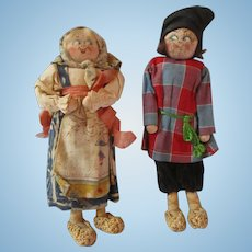 """1927  Russian Peasant couple cloth dolls bought in France 6"""" tall 90 years old!"""