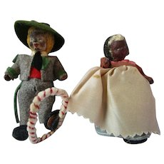 Very old detailed miniature cloth dolls 3.5 and 3.75 inches unique
