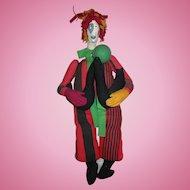 "1988 Marlene Denn THE DOLLMAKER DOLL Clown with seals RARE 25"" wall doll"