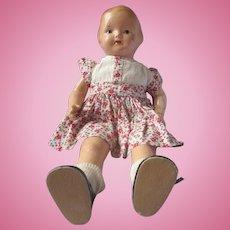 "Vintage  14"" Original Effanbee composition cloth Baby Dainty in cute dress 1930's"