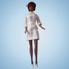 Vintage Julia or Christie Barbie in original nurse uniform and pilgrim shoes pretty