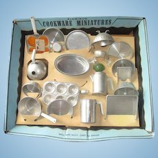 Vintage Mirro set of Child's Cooking  Dishes still on original box Amazing! Pt's Pans Cookie cutters