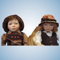 2 Maggie Iacono artist jointed felt dolls Ashley and Brent Excellent condition 62-75 and 67-75