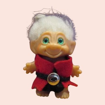 "Super Adorable little original Scandia House Troll doll 3"" in felt outfit man bun"