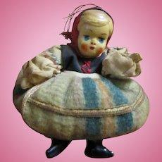 "Vintage adorable miniature celluloid girl in original costume 3"" strung"