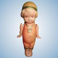 "Vintage adorable miniature celluloid girl 4"" Flapper era stands strung arms"