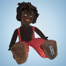 """Vintage Norah Wellings Cloth Island boy doll in red polka dots personality! 14"""""""