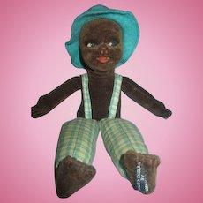 """Vintage Norah Wellings Cloth Island boy doll in plaid suspenders hat 8"""""""