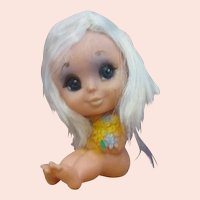 KAMAR Big Eyed Blythe era little rubber doll with flowers blonde naked cute!