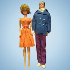 Vintage Bubblecut Barbie and Ken in vintage clothing 1960's