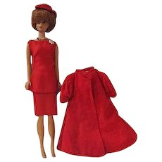 Vintage Barbie Bubblecut in original dress with red Flare jacket hat and Music Center Matinee