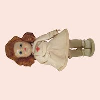 Vintage 1950's Vogue Ginny Nurse  straight leg walker in original outfit redhead cute!