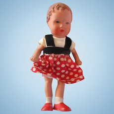"""Composition small dollhouse little sister doll Germany painted features 3-3/4"""""""