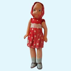 "Dollhouse composition girl in Red Polka dots 5.5"" Japan strung"
