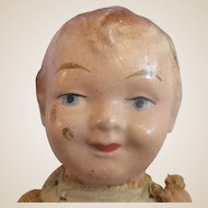 """12"""" Antique German straw fibre doll cloth limbs pin jointed"""